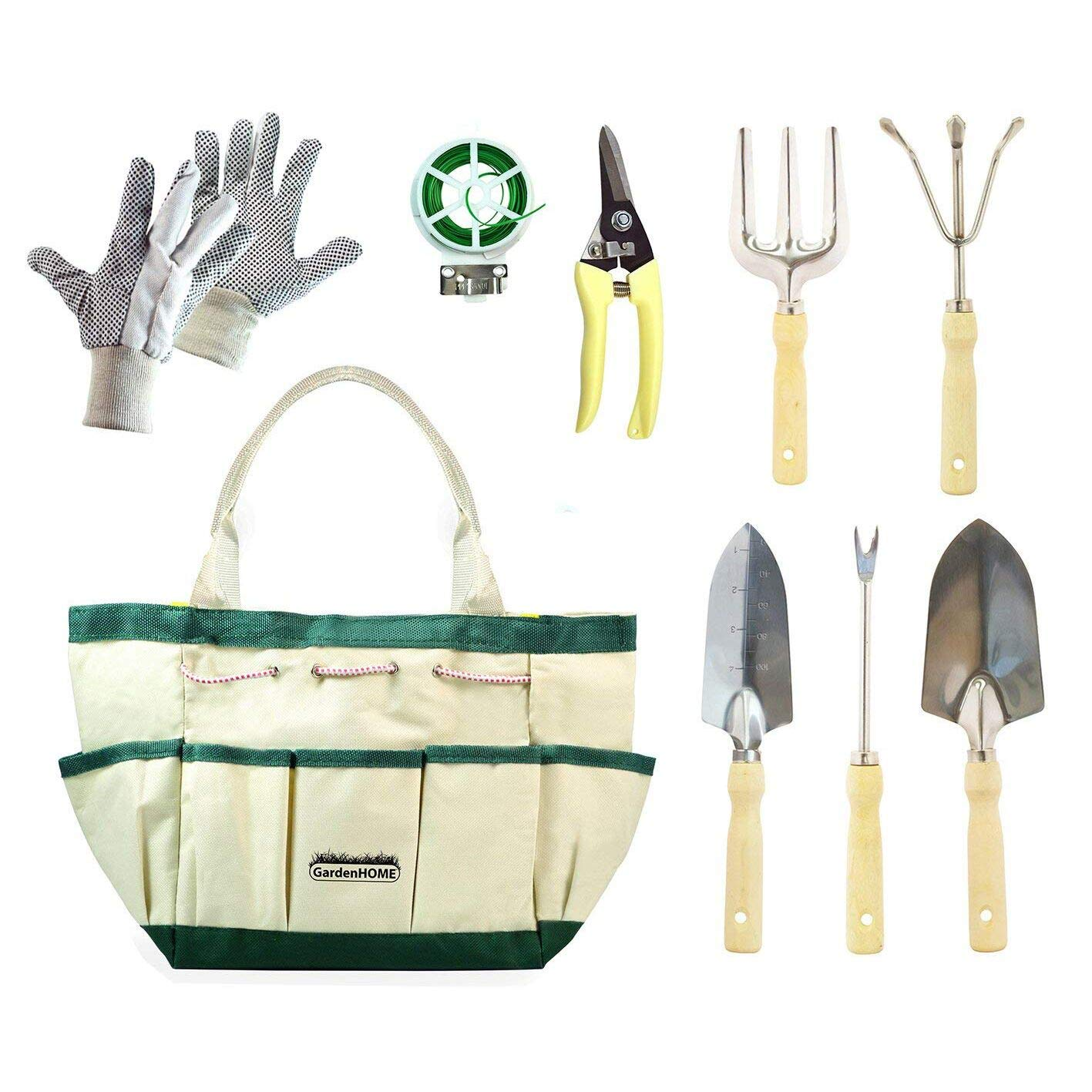 GardenHOME 9 Piece Garden Tool Set, Stainless Steel, includes Lightweight 5 Stainless Steel Tools, Gloves, Pruner, Plant Twist Tie and Storage Bag