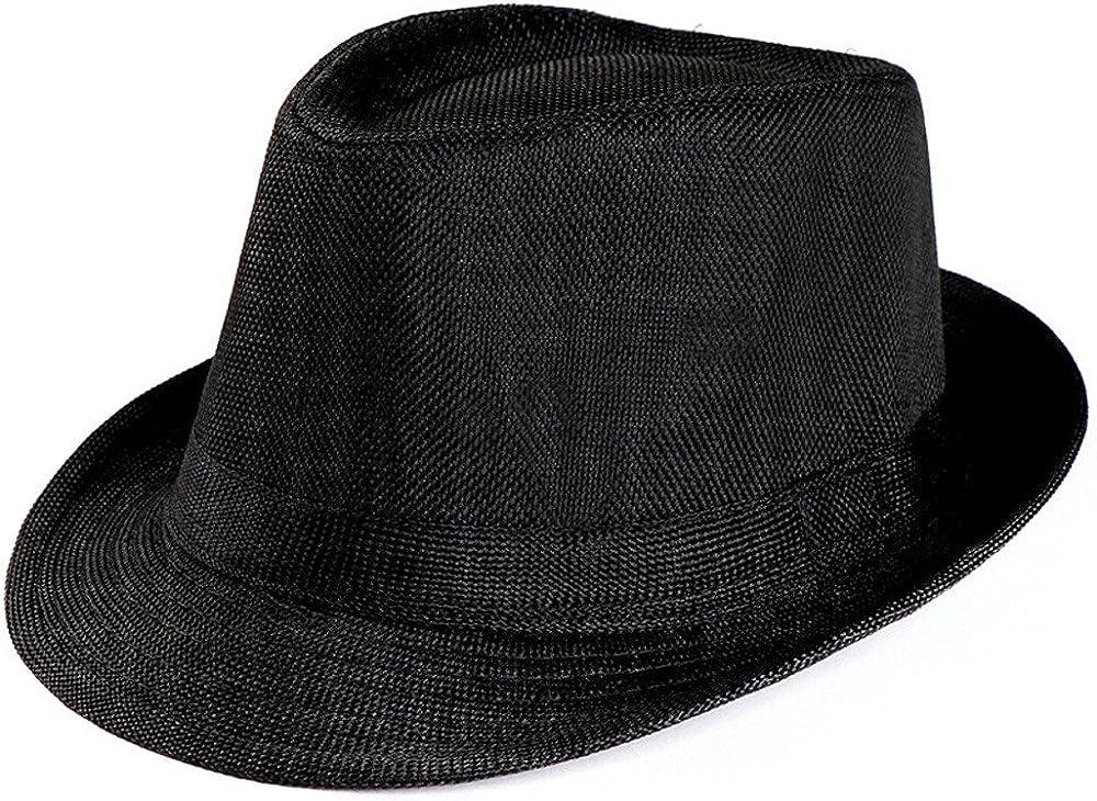 Siriay Unisex Summer Hats Men Women Trilby Gangster Roll-up Caps Beach Sun Straw Hat Band Sunhat Visors