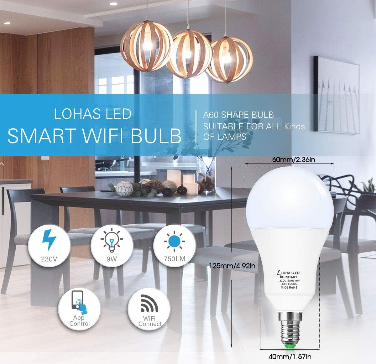 funcionan con  Alexa bombilla WiFi blanca de 9W d/ía Bombillas LOHAS LED E14 SES Smart Alexa sincronizaci/ón Siri e IFTTT no requiere concentrador paquete de 2 Google Assistant