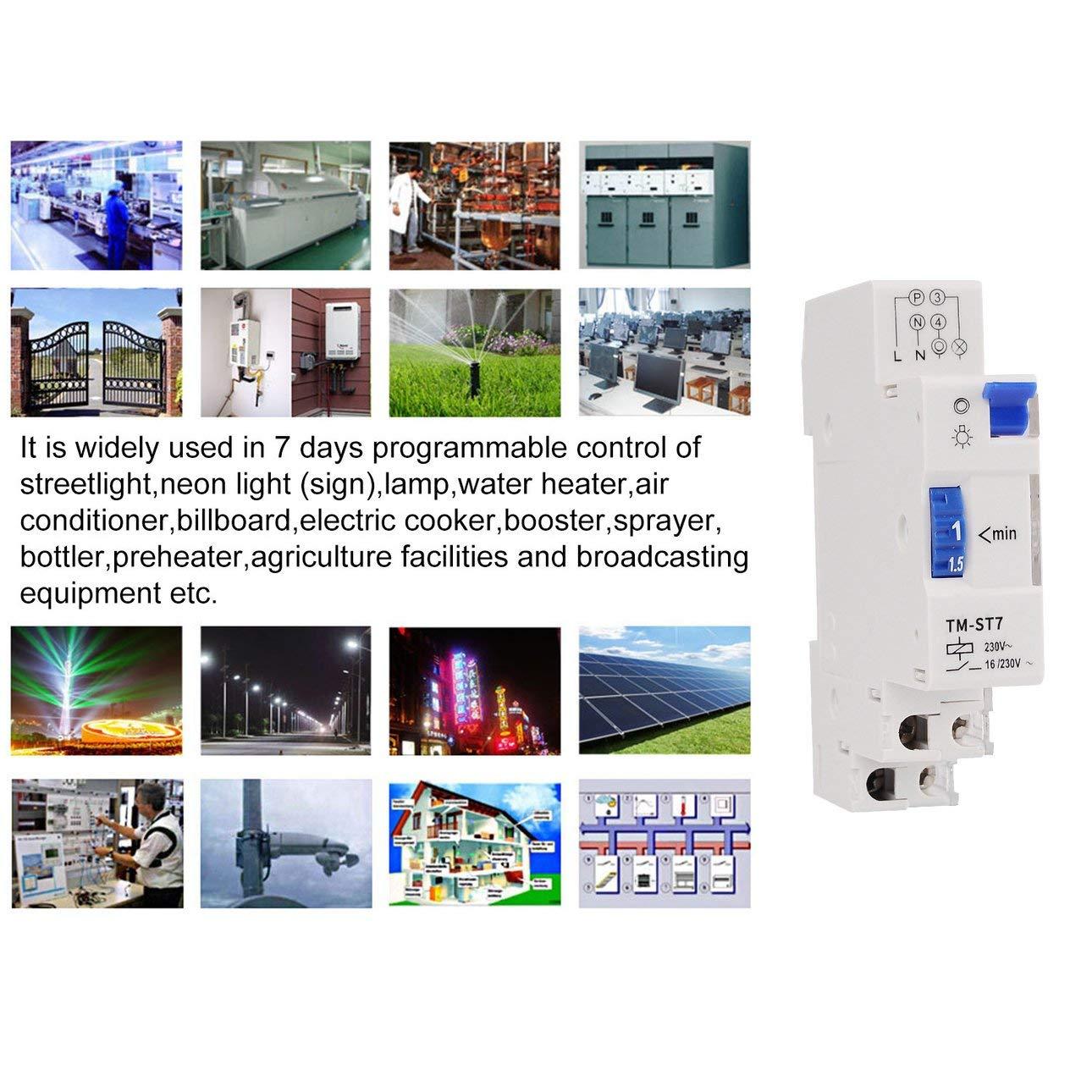 Ballylelly para TM-ST7 220V 7 Minutos Temporizador mec/ánico 18mm M/ódulo /único Temporizador de Escalera en Carril DIN Instrumentos de Interruptor de Tiempo