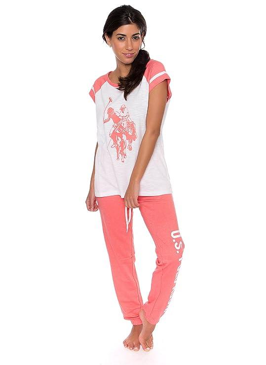 U.S. Polo Assn. Womens 2 Piece Short Sleeve Shirt and Long Pajama Pants Sleepwear Set (Small, White Slub)