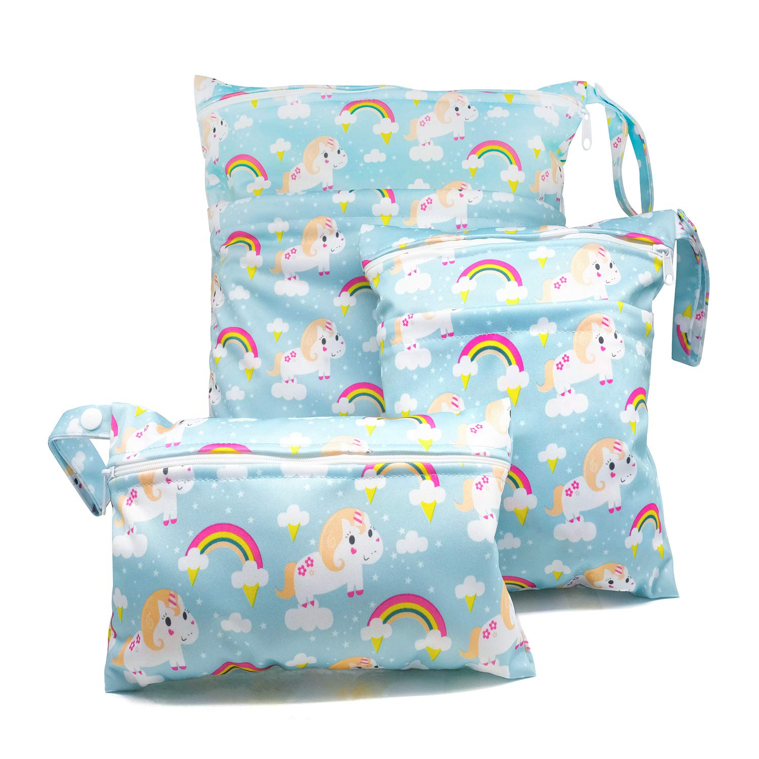 Baby Cloth Diaper Wet Dry Bags Sets Waterproof Diaper Organizer with Two Pockets 3PCS