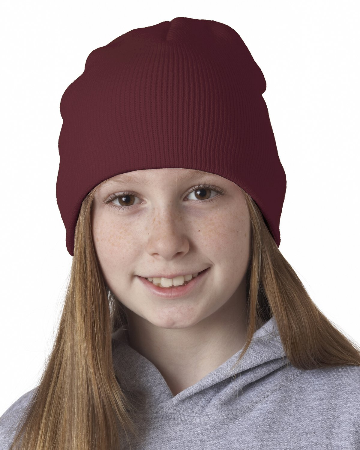 8131 UC 8 1/2 IN KNIT BEANIE BURGUNDY OS