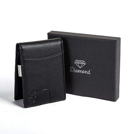 888c5b55d7 Portafoglio uomo DIAMOND piccolo con protezione RFID con Clip per contanti  Porta carte di credito,