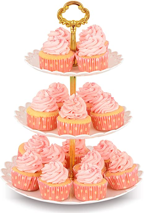 Dessert Cupcake Round Plate Stand Display Birthday Wedding Party 3 Tier