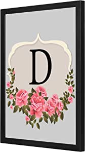 D letter Pink roses Wall Art with Pan Wood framed Ready to hang for home, bed room, office living room Home decor hand made Black color 33 x 43cm By LOWHA