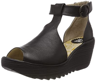 b4d61bbd1a FLY London Womens YOLA Mousse Peep Toe Leather Platform Wedge Sandals -  Black - US5/