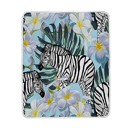 Amazoncom Xmcl Zebra Tropical Flower Warm Throw Blanket Travel Nap