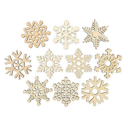 ueetek 10pcs christmas tree ornaments wooden snowflake cutouts craft