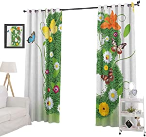 "YUAZHOQI Letter B Blackout curtainsUppercase B Sign with Flourishing Daisies Exotic Garden Plants Butterflies Fresh Curtains for French Doors 52"" x 84"", Multicolor"