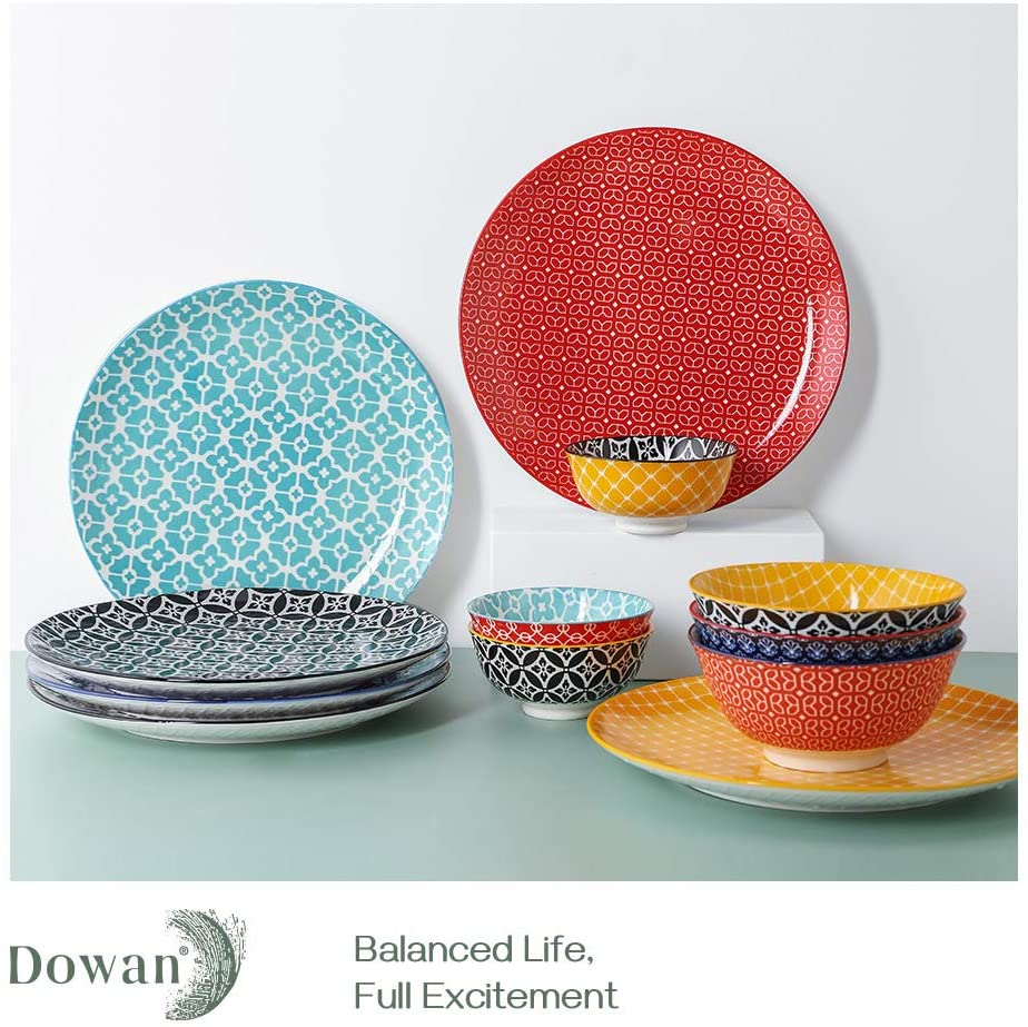 DOWAN Dinner Plates Salad Steak Colorful Dinner Plates for Main Course Pasta Brunch 10 Inches Porcelain Plates Set of 6 Flat