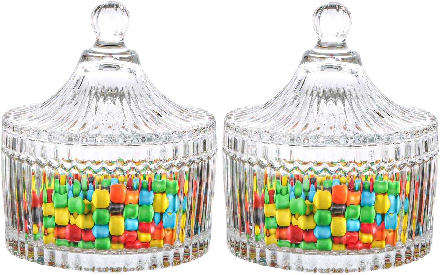 ComSaf 10CM Cubierto de Vidrio Storage Tarro de Almacenamiento Plato de Caramelo Caja Paquete de 2, Decoración para de Oficina Escritorio Regalo para Cumpleaños Boda Día de San Valentín Navidad
