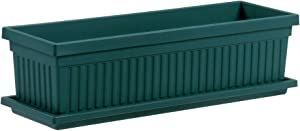 Venetian Flower Box Planters - The HC Companies 24-Inch Large Planter Boxes for Outdoor Plants Evergreen (VNP24000B91)