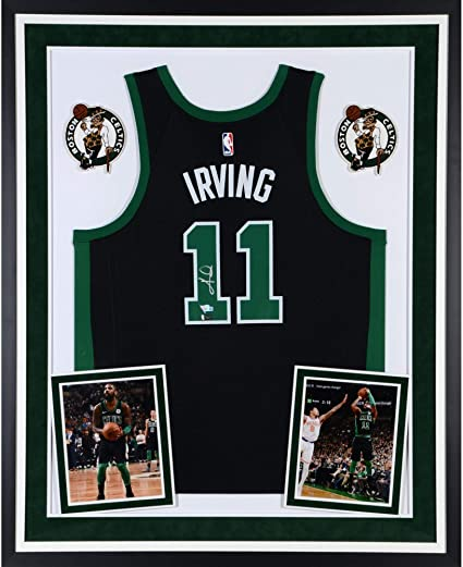 new arrival 2efb2 3e0bb Kyrie Irving Boston Celtics Deluxe Framed Autographed Black ...