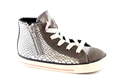 CONVERSE 746381C silver ct side zipper child shoes all star mid Press