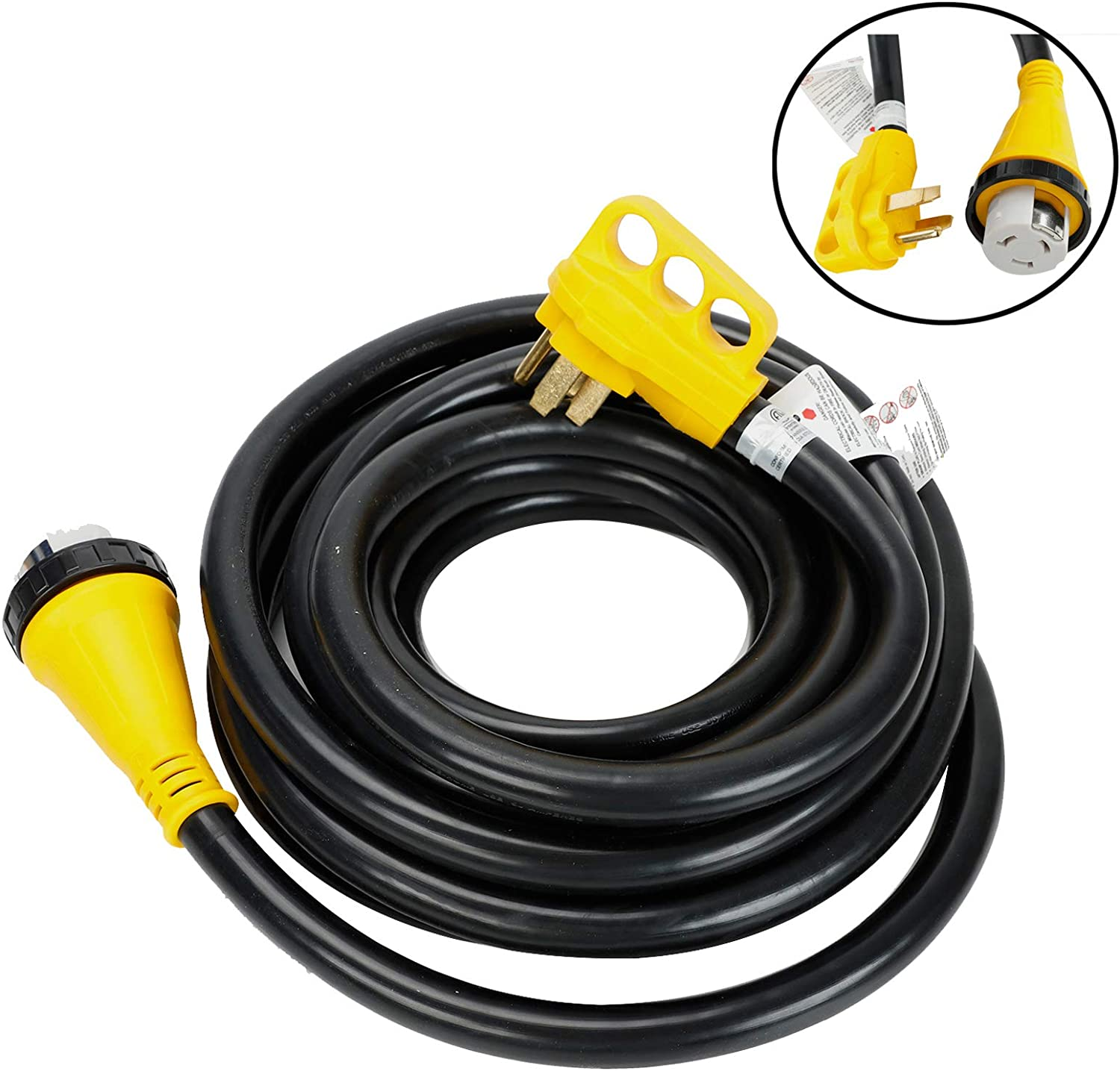 RV Power Cord 15ft 30 amp RV Extension Cable Rain Proof Twist Lock Connector