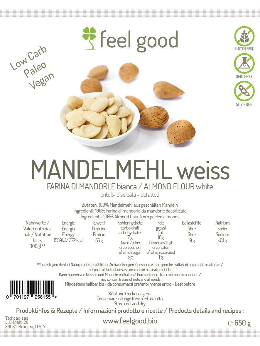 Blanco almendra sin aceite libre de gluten de harina 500 g BIO: Amazon.es: Alimentación y bebidas
