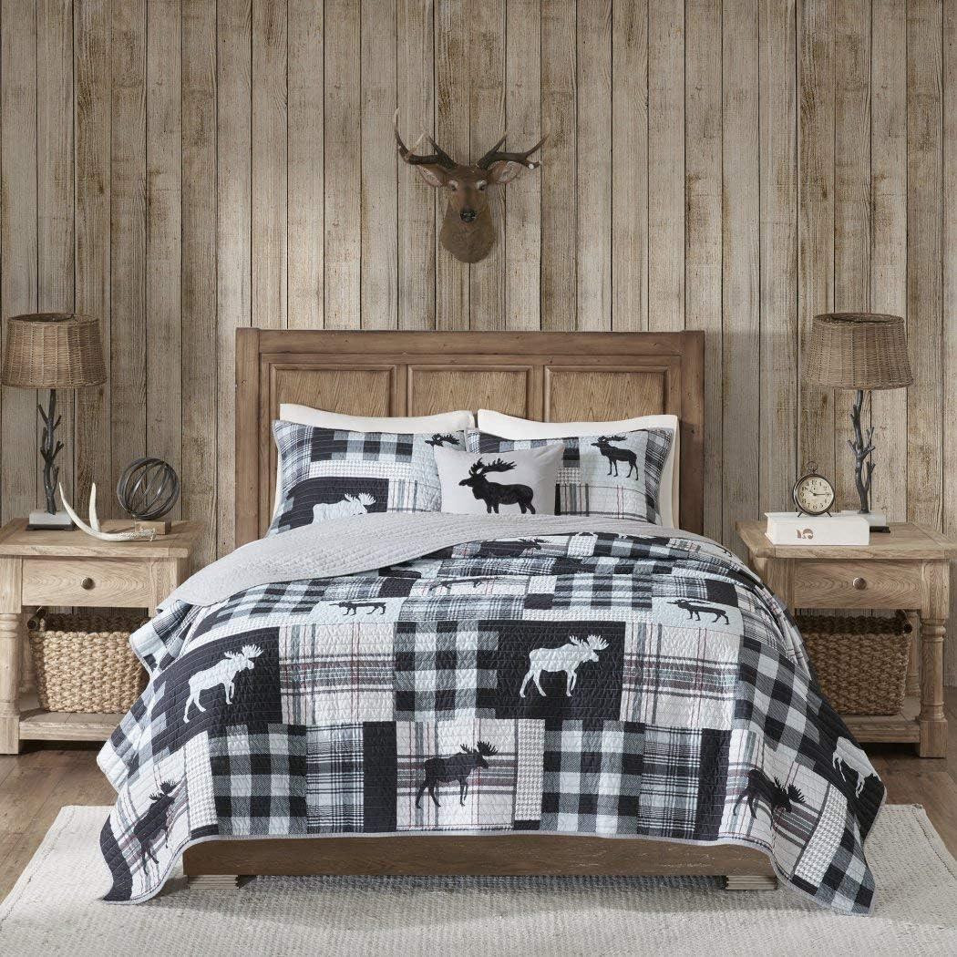 BLACK BEAR LODGE 3pc King Quilt Set Reversible Mountain Cabin Moose Rustic Snow