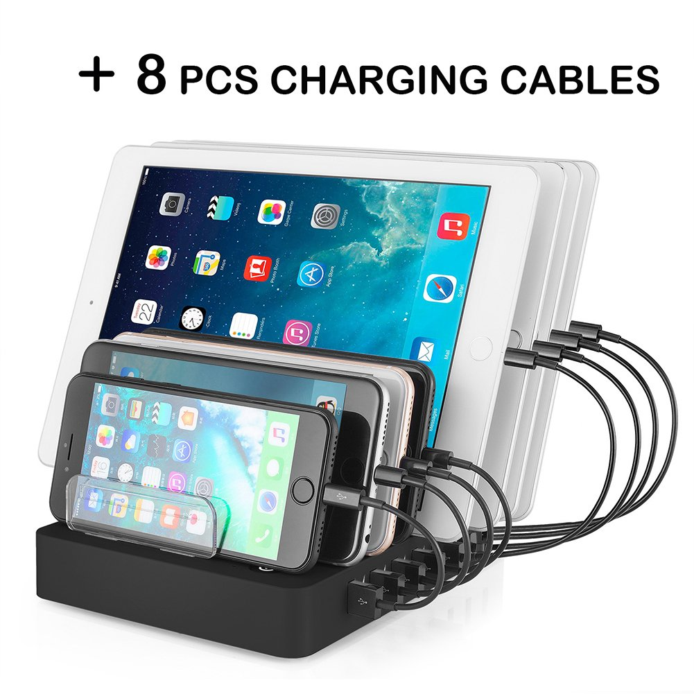Aizbo USB Charging Station, 8-Port Multiple Device Charging Dock ...