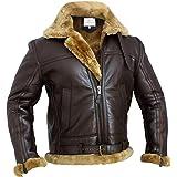 RAF Bomber Ginger Men B3 Bomber Jacket Aviator Real Shearling Bomber Sheepskin Leather Jacket