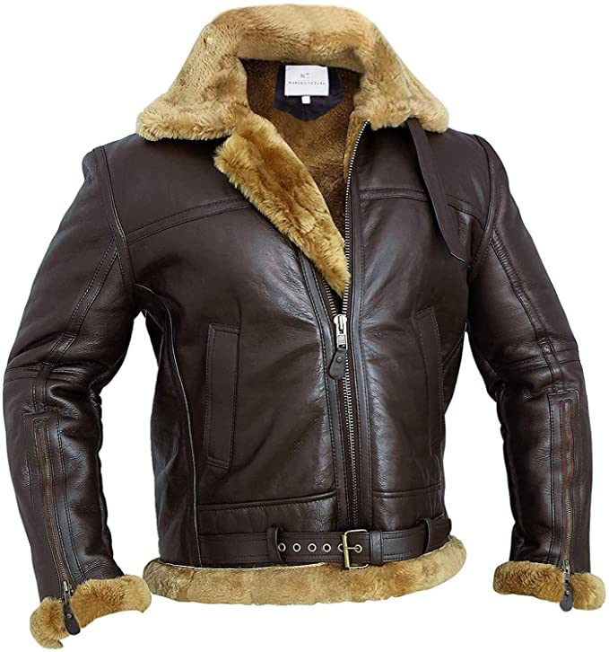 Men's Vintage Jackets & Coats RAF Bomber Ginger Men B3 Bomber Jacket Aviator Real Shearling Bomber Sheepskin Leather Jacket $329.99 AT vintagedancer.com
