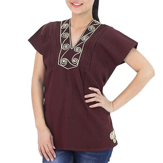 342e993a018611 NOVICA Brown Cotton Blouse, Mahogany Melody' at Amazon Women's ...