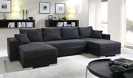acheter populaire 39c4b 62f29 tendencio Canapé d'angle Convertible panoramique 5 à 6 Places Enno Tissu et  Simili Cuir Noir