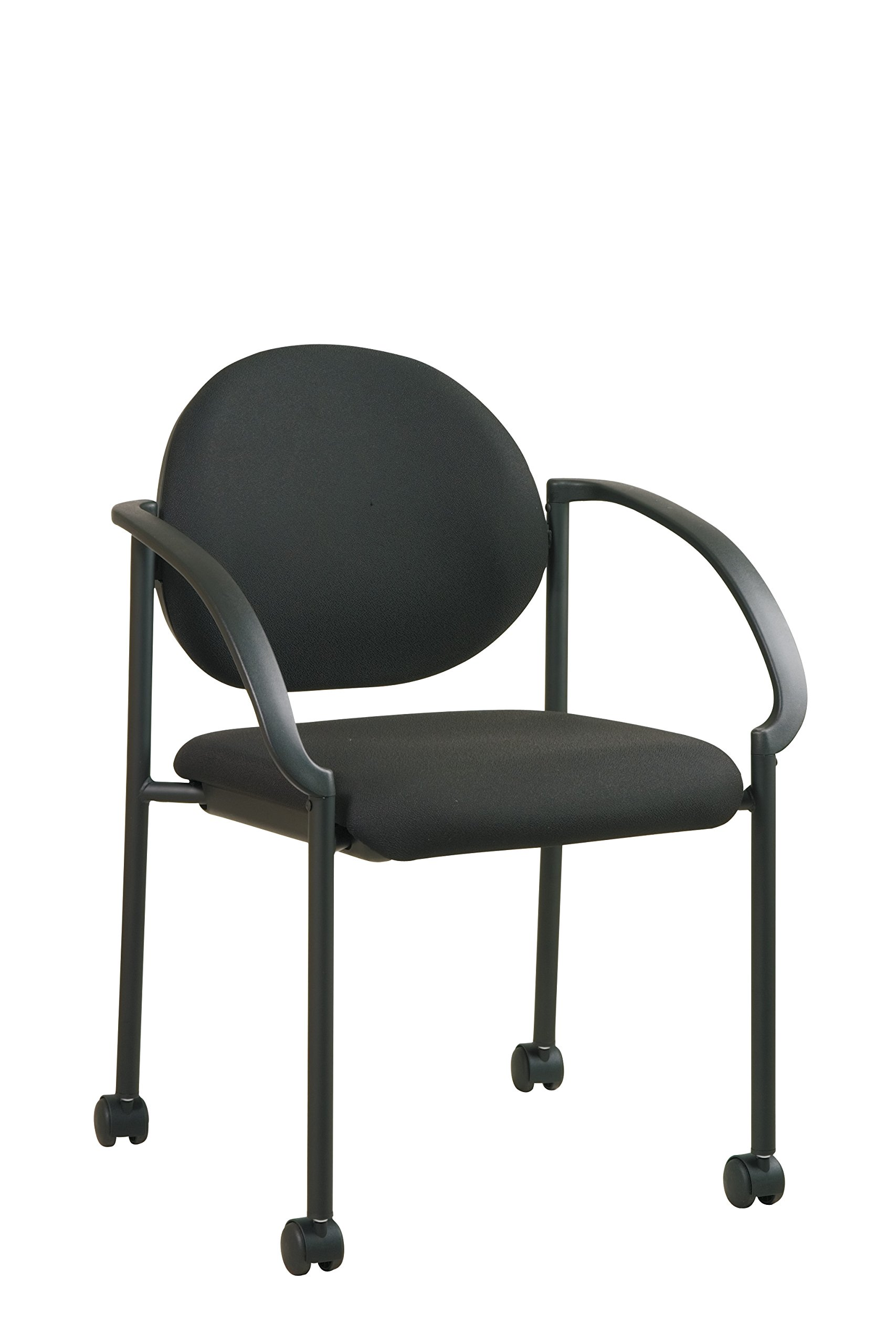 Office Star Padded Fabric Seat and Back Stacking Chair with Arms and Dual Wheel Carpet Casters, Black