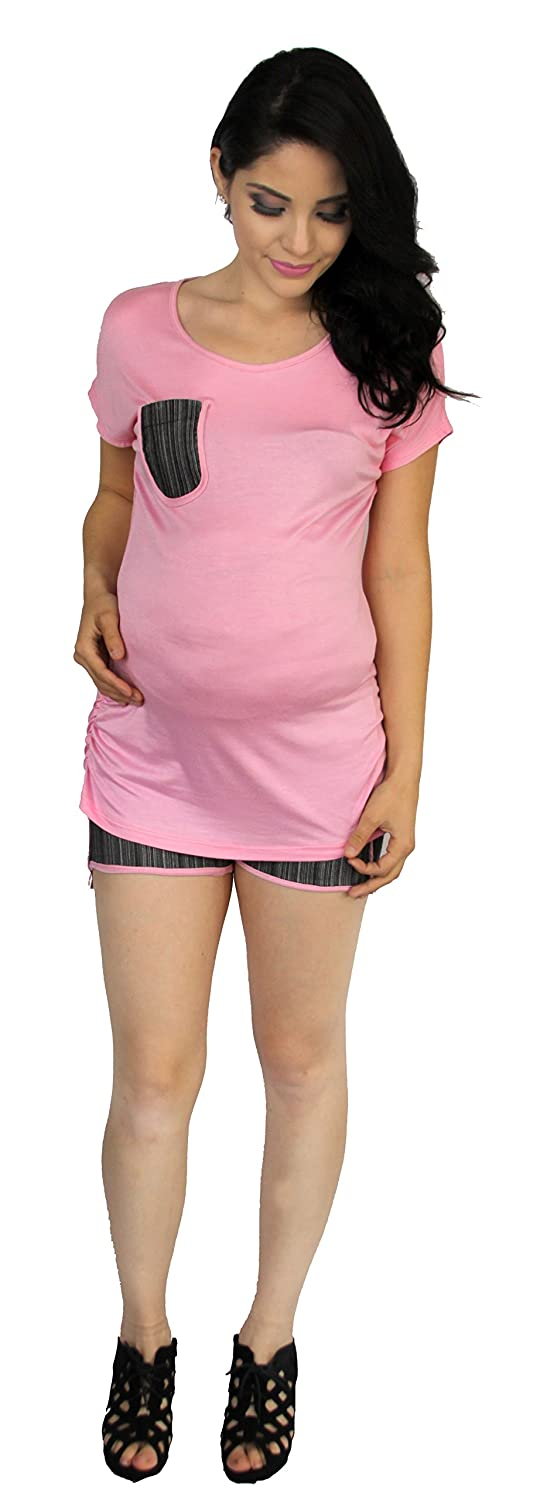 Summer Maternity Two Piece Short Set Stripped Pink