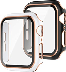 Recoppa 2 Pack Compatible Apple Watch Case 42mm with Tempered Glass Screen Protector, Rose Gold Edge Full Coverage Hard PC Cover Protective Case for Women Men iWatch Series 3/2/1(Black/White Bumper)