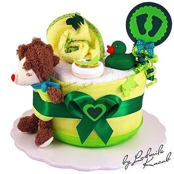 Baby-Geschenk zur Geburt Taufe Babyshower 1 St/öckig Gr/ün Baby-Boy /& Baby-Girl Unisex MomsStory mini Windeltorte neutral