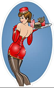Oval Pinup Waitress in red Burger 3x5 inches Server Stocking Photography Food Happiness Funny Sexy Humor America United States Color Sticker State Decal Vinyl - Made and Shipped in USA