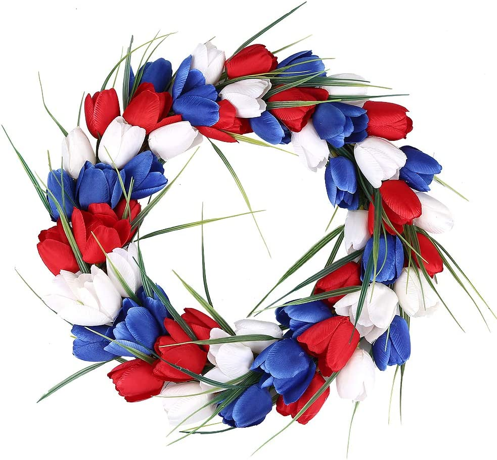 H&W American Patriotic Tulip Silk Wreaths, 15'' Red White and Blue Flower Garland Front Door Décor, July of 4th Independence Day Party Decor, Holiday Wedding