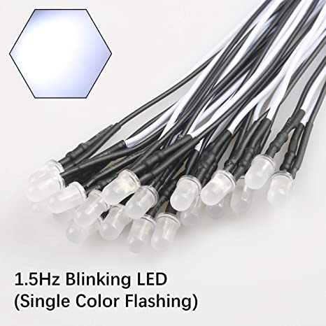 LED 5mm Short Head White Flashing about 2 times per second 1.5-2.5 Hz 25 Pcs