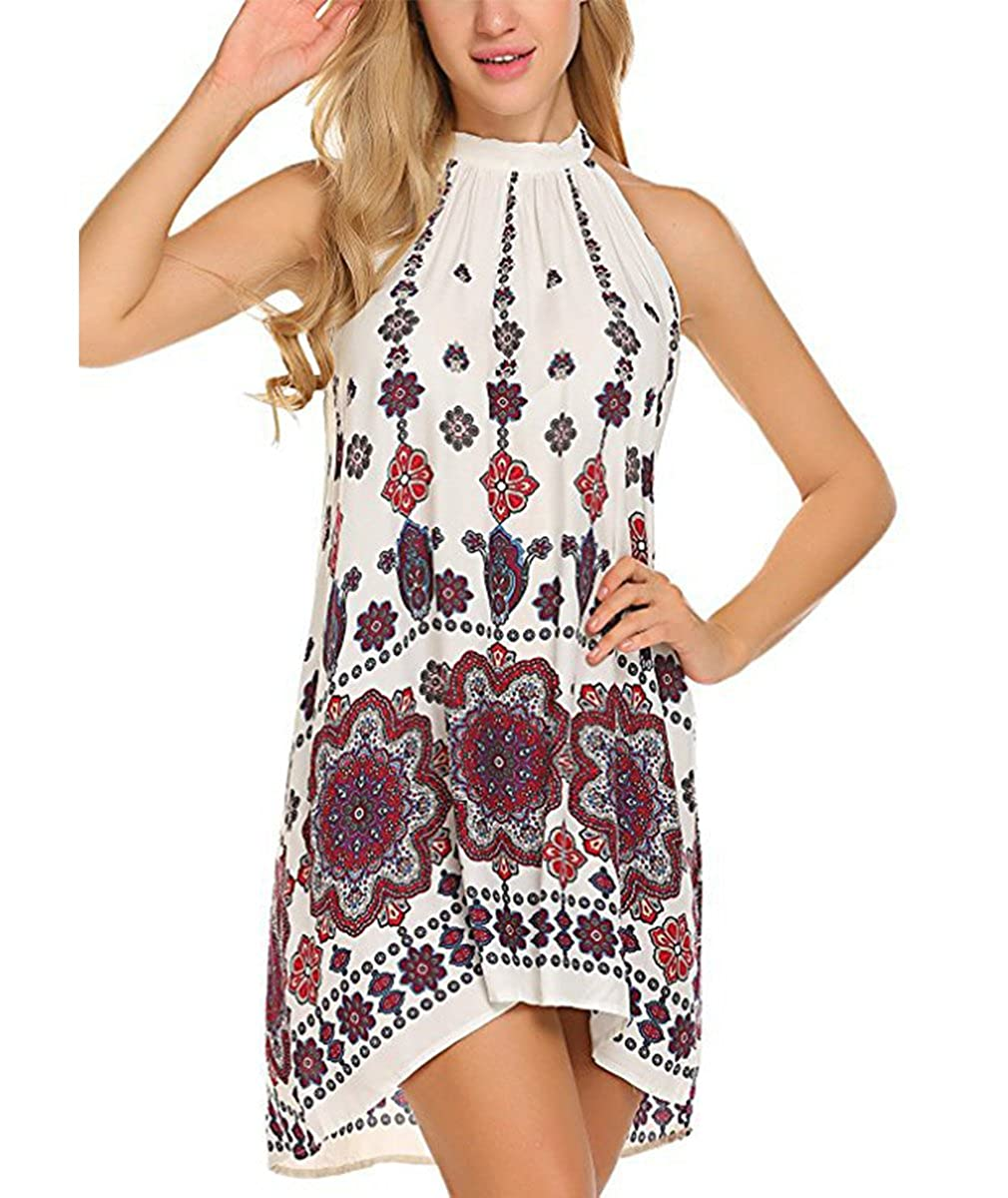 Clodsemi Damen Kleider Trägerkleid Langshirt Gedruckt Sommerkleid Strandkleid
