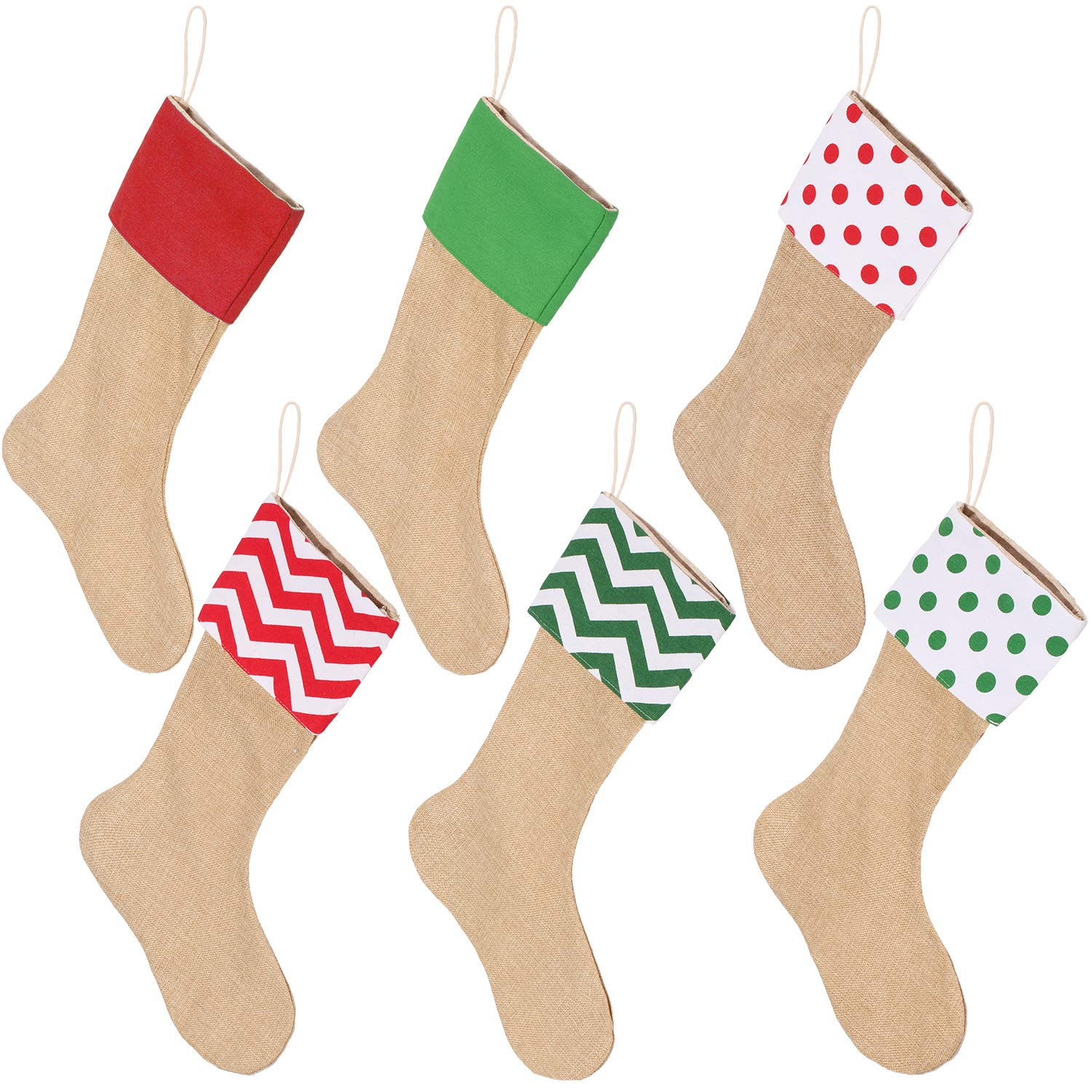 6 Packs Burlap Christmas Stockings for Christmas Decorations or DIY (Flaxen) Sumind