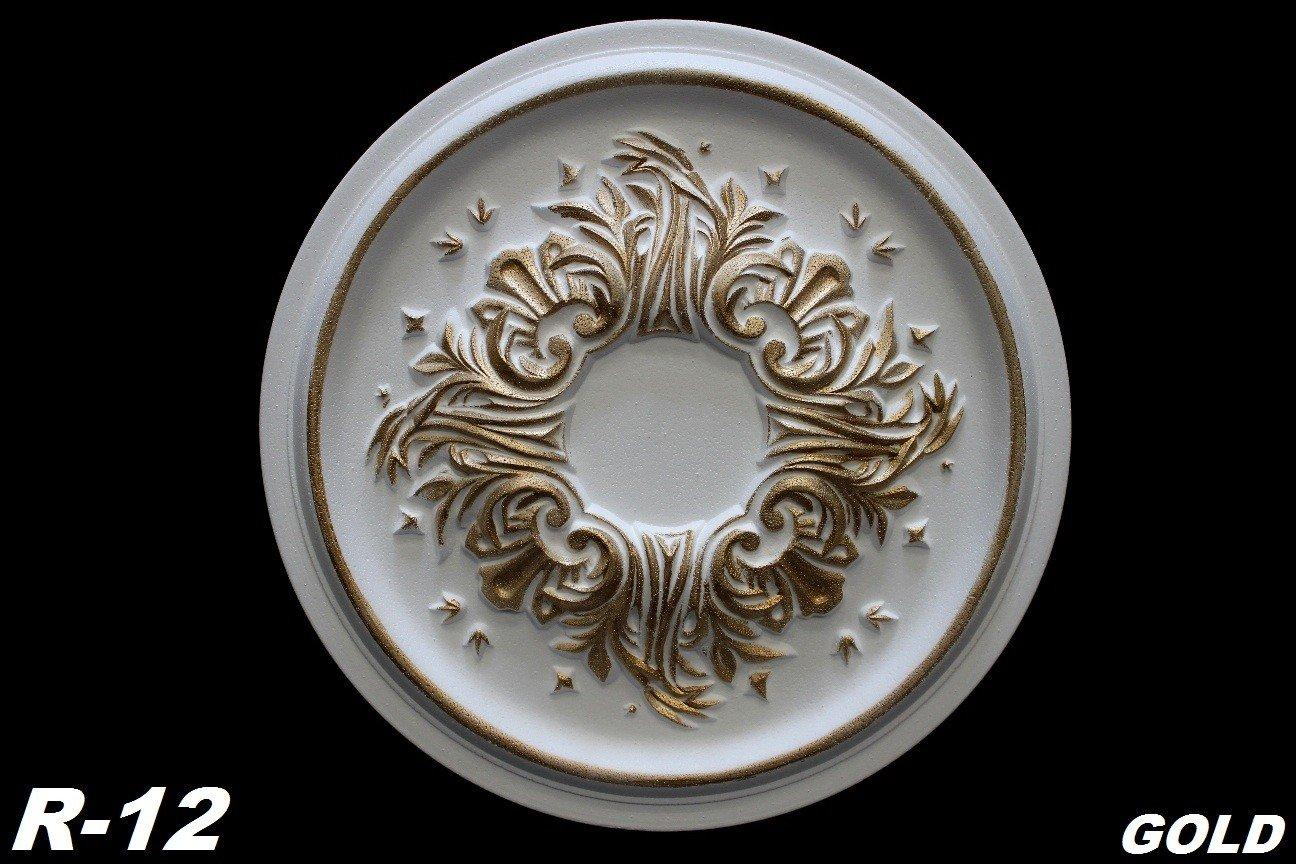 1 Decorative Rosette Rosette Decor Ceiling Ceiling Rosette ø 43cm Polystyrene, R-12 Gold Marbet Design