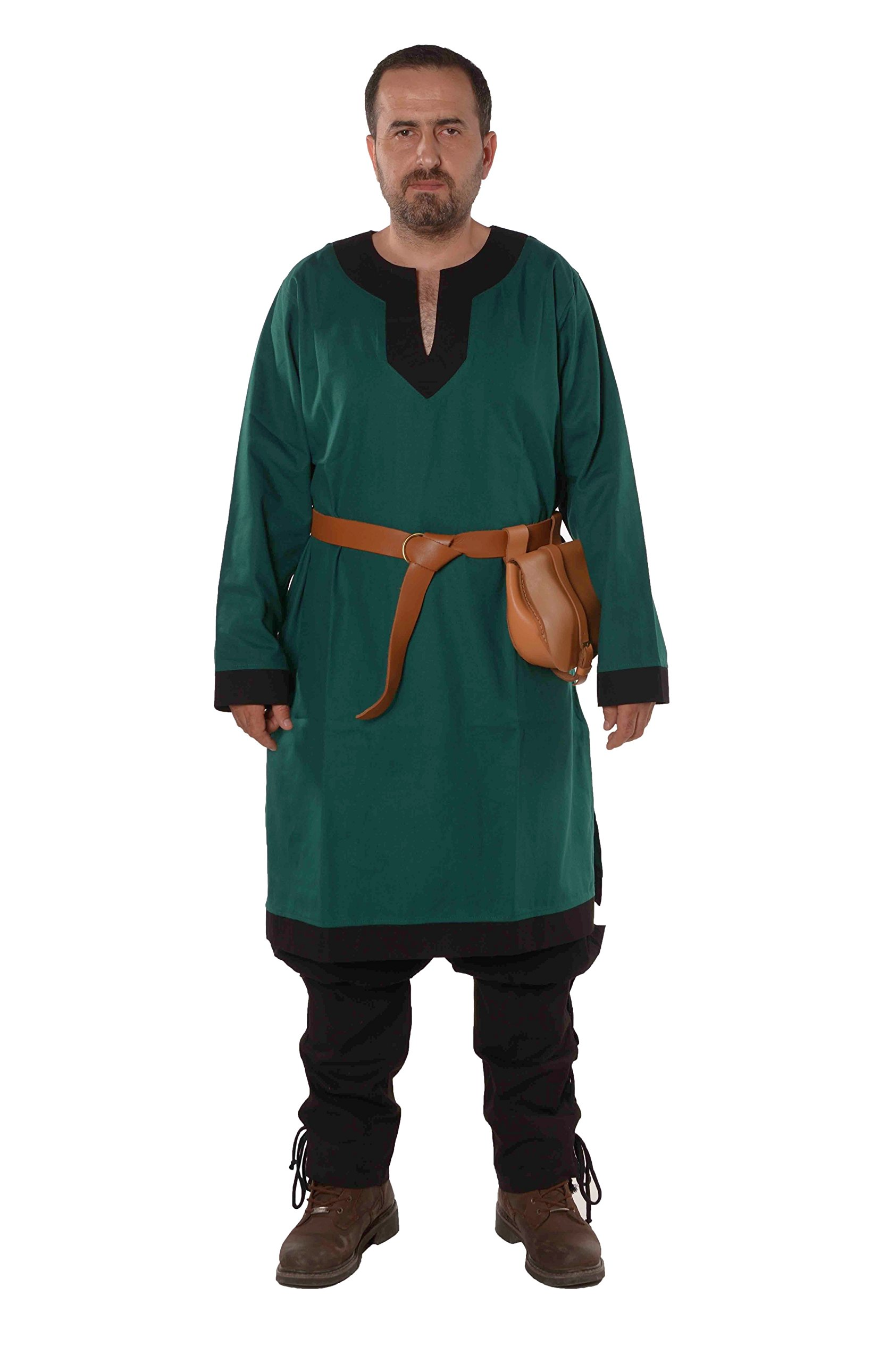 Arthur Medieval, Viking, LARP and Tunic   - Made in Turkey by bycalvina,Forest Green / Black,Large