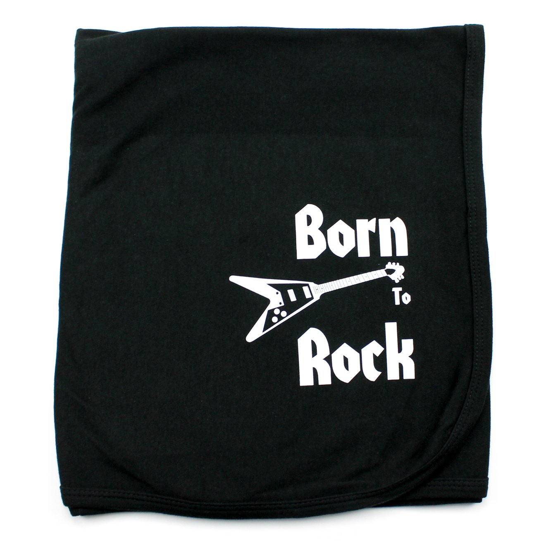 CrazyBabyClothing Born To Rock Baby Receiving Blanket