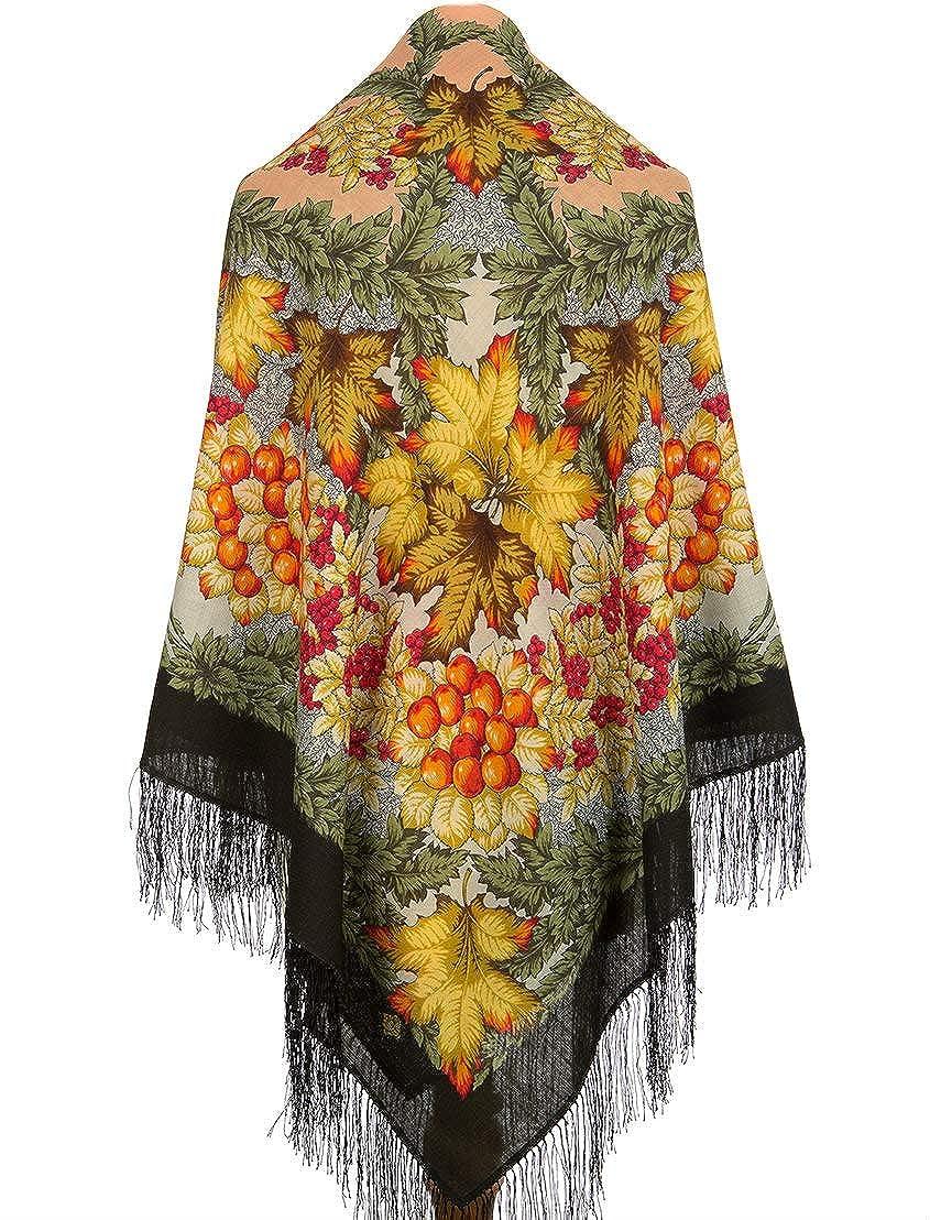Pavlovo Posad Russian Shawl Pashmina Scarf Wrap Green orange 100% Wool 57x57'' NEW 2019