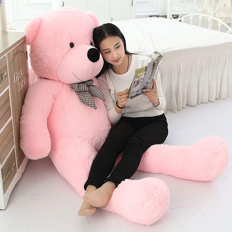 Happy Island Big Cute Plush Teddy Bear Huge Plush Animals Teddy Bear Girl Children Girlfriend Valentines Day White 180cm Pink, 55 inch