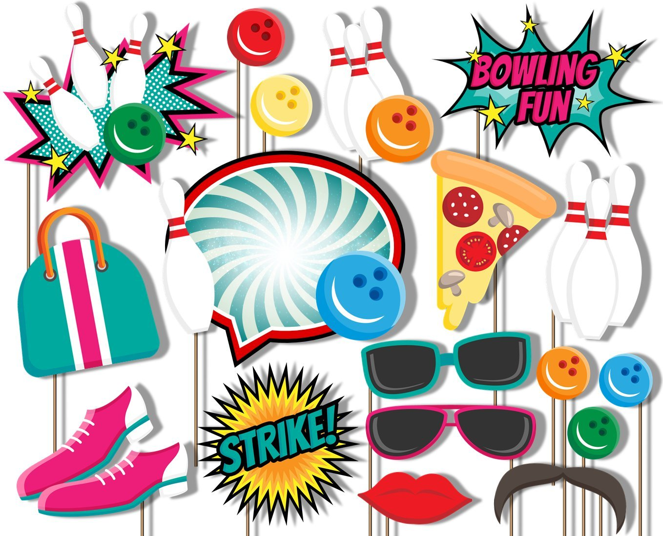 Bowling Fun Photo Booth Props Kit - 20 Pack Party Camera Props Fully Assembled by Birthday Galore