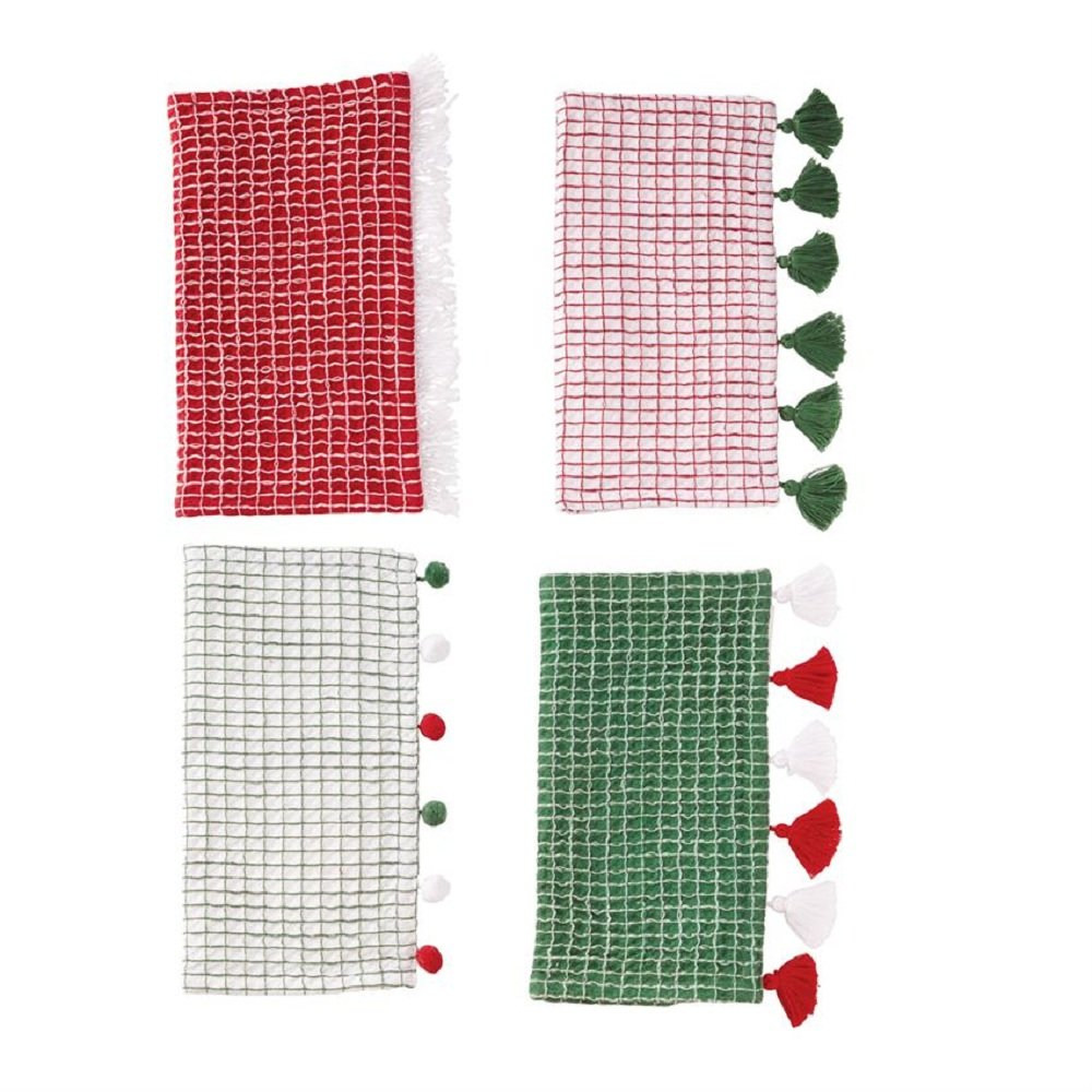 Mud Pie Christmas Tassel and Pom-Pom Dish Towel Set of 4 4406009