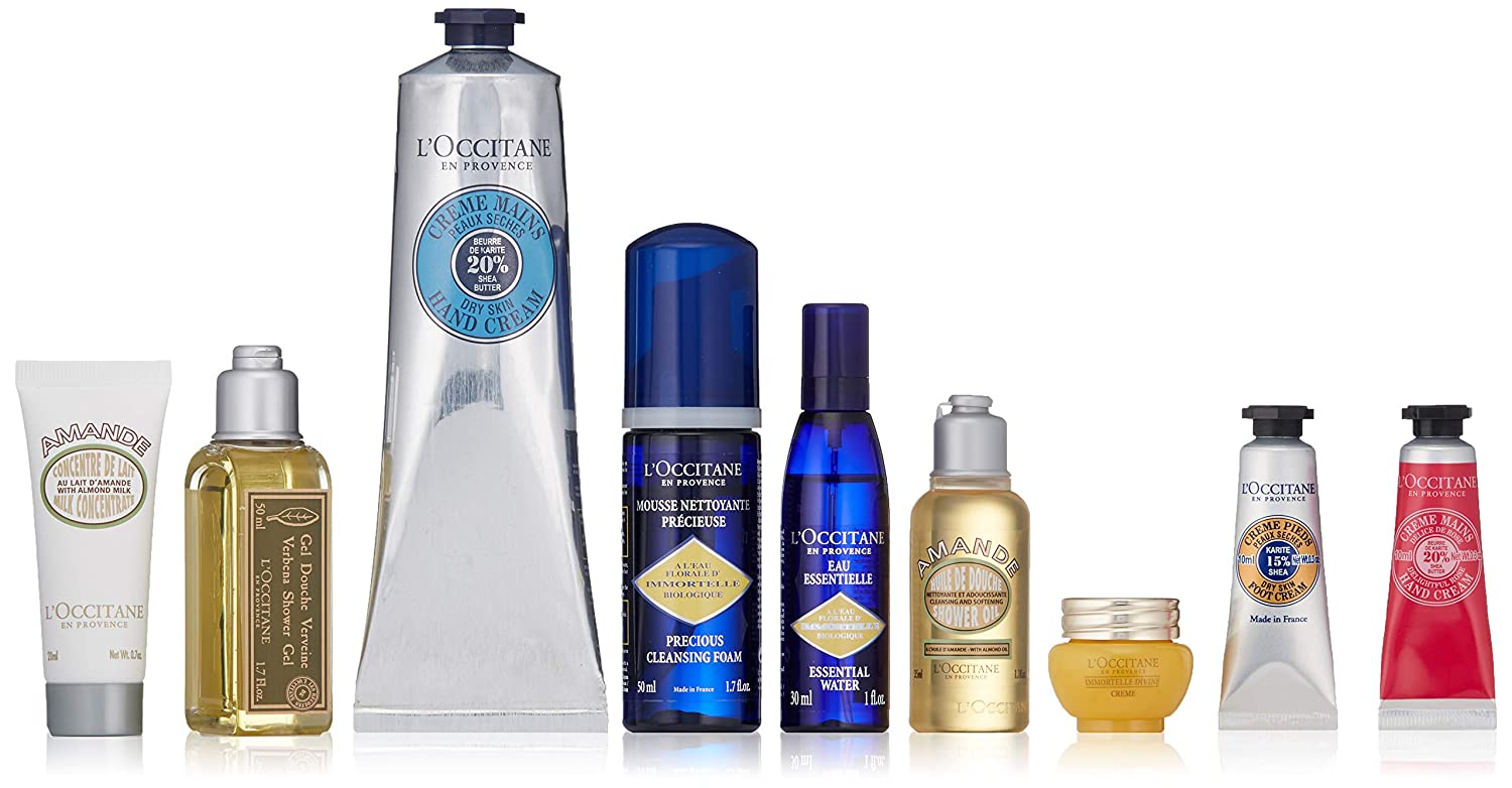 L'Occitane Hand Cream and 8 Travel Minis, Various Scents (Packaging May Vary)