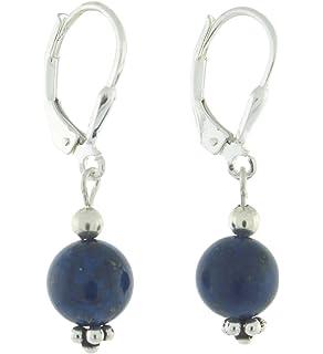 Sterling Silver 10mm Gemstone Bead Lever Back Bottom Dot Flower Earrings