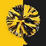 PUZINE 2pack 12' Cheerleading Metallic Foil & Plastic Ring Pom Poms Cheerleading Poms (80g)