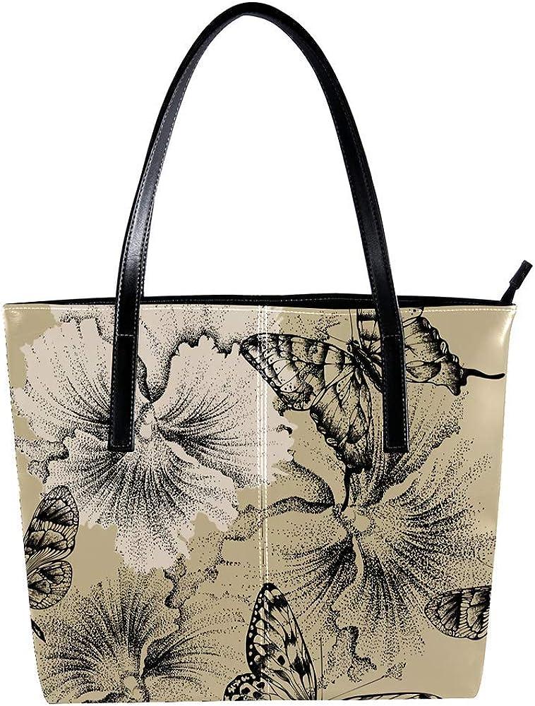 TIZORAX Vintage Mariposas En Flor Bolso De Mano De Cuero De La Moda De La PU Bolso De Mano Con Manija Superior Del Hombro Bolsos Totes Monederos