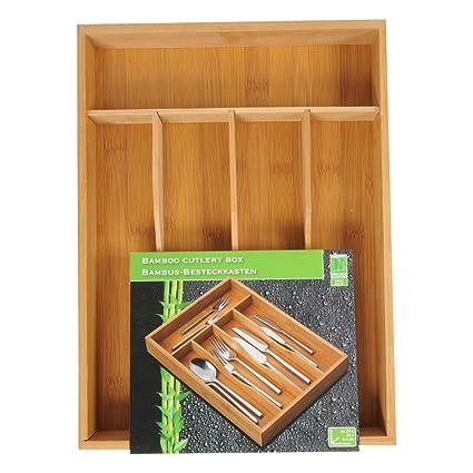 De madera de bambú en cajones divisor organizador de cubiertos compartimentos organizador caja de almacenaje