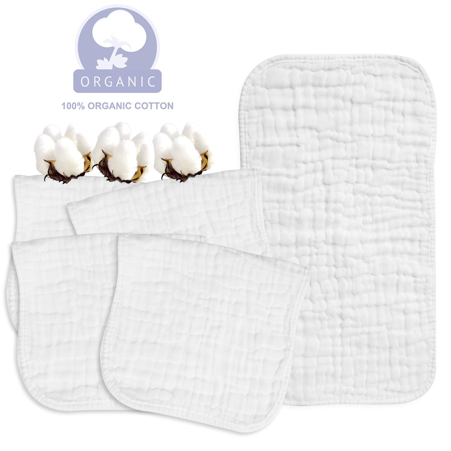 Muslin Burp Cloths made from 100% Cotton,saliva towel,Multi-Use Soft Burp Cloths Boys/Girls - Excellent Shower Gift,White Set, 5 Pack, Large 20''x10''