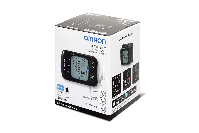 OMRON RS7 Intelli IT - Tensiómetro de muñeca con sensor de posición y conectividad Bluetooth para uso doméstico o externo, color negro